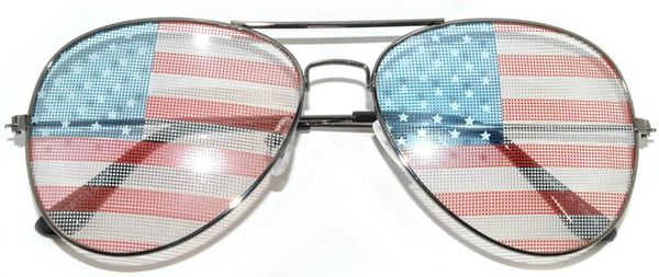 2 Pair750 USA Flag Aviator Gunmetal Light Lens - 2 Pair