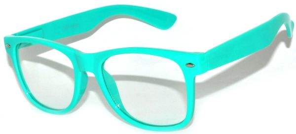 Retro Clear Lens Turquoise - 2 Pair