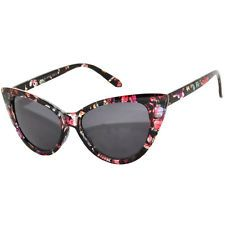Retro Cat Eye Black Flowers Smoke Lens
