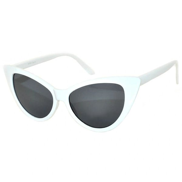 Owl Retro Cat Eye Smoke Lens White