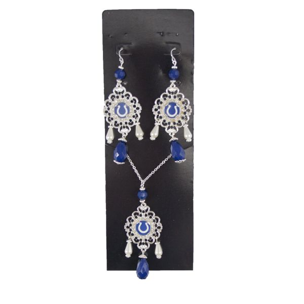 NFL Indianapolis Colts Baroque Necklace and Earrings Collection