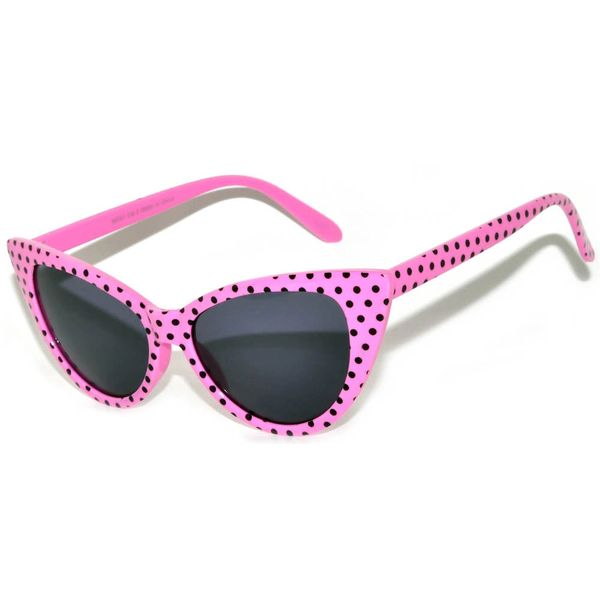 Retro Cat Eye Pink w/ Black Dots Smoke Lens