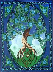 Cotton Single Tapestry Tree of Life Man