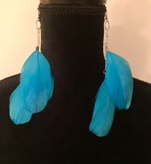 Handmade Turquoise Feather Earrings (Goose Feathers)
