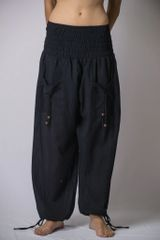 Women's Thai Smocked Waist Cotton Pants in Solid Black (One size fits most)