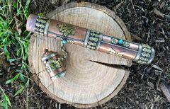 "Copper Tibetan Incense Holder 11"" long"