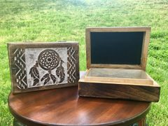 Mango Wood Box ~ This velvet lined box is great for storing precious stones, crystals, jewelry, tarot cards or small keepsakes.