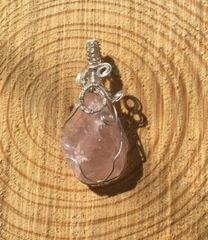 Rose Quartz with Silver Wire Charm