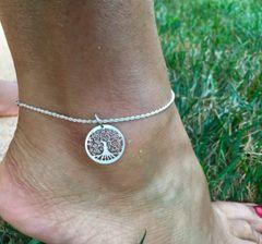 "Tree of Life Pendant Ankle Bracelet 8"""