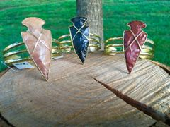 Arrowhead Natural Jasper Bracelet (Brass Color)