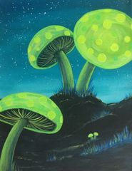 "Glowshrooms - Orginal painting 11""X14"""