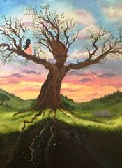 "I am Grandmother Oak - 18"" X 24"" Acrylic on stretched canvas"