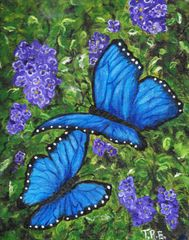 "Blue Morph Butterflies - 8"" X 10"" Acrylic on canvas"