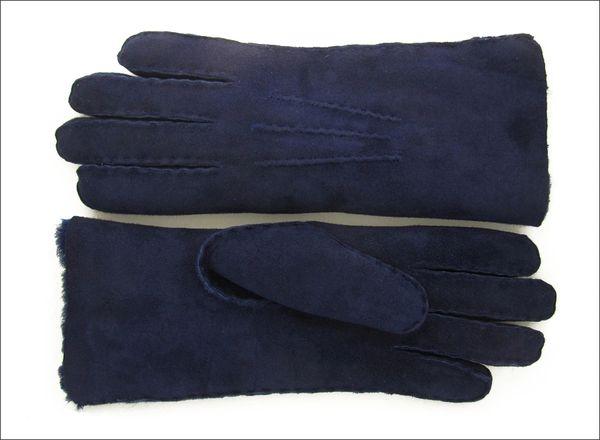 Rich Deep Blue Sheepskin Shearling Gloves