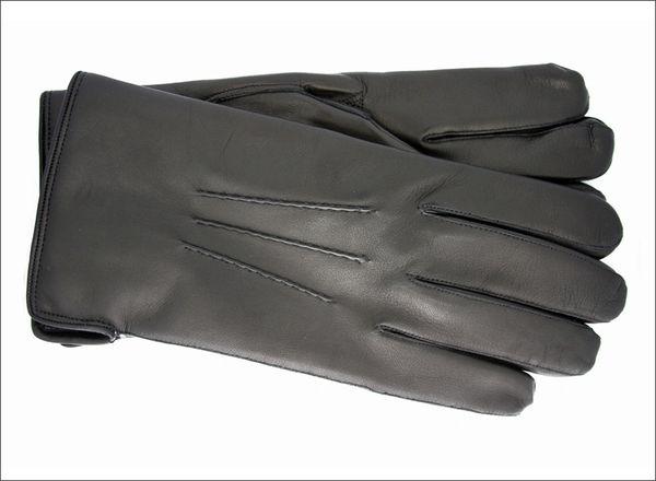 Men's classic black cashmere lined gloves