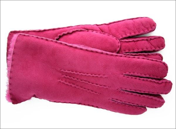 Classic Pink Sheepskin Shearling Gloves
