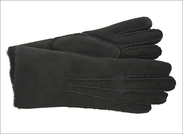 Classic Black Sheepskin Shearling Gloves