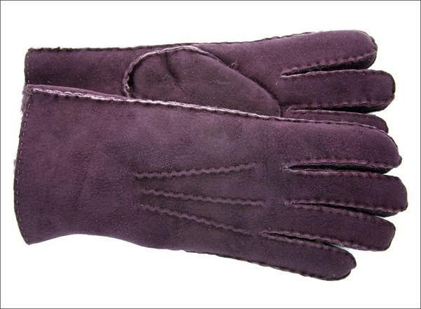Classic Plum Sheepskin Shearling Gloves