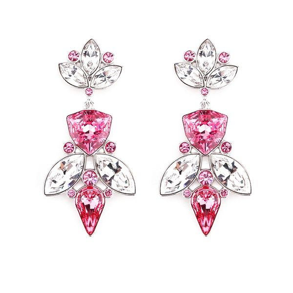 Zena Elegant Pink Earrings Made With Crystals From Swarovski