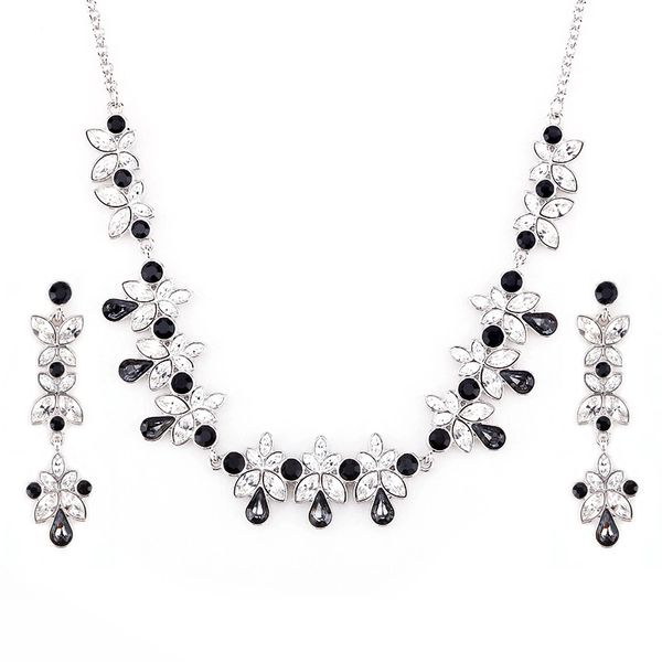 Zena Classic Black Earrings & Necklace Set Made With Crystals From Swarovski