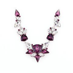 Zena Elegant Purple Necklace Made With Crystals From Swarovski