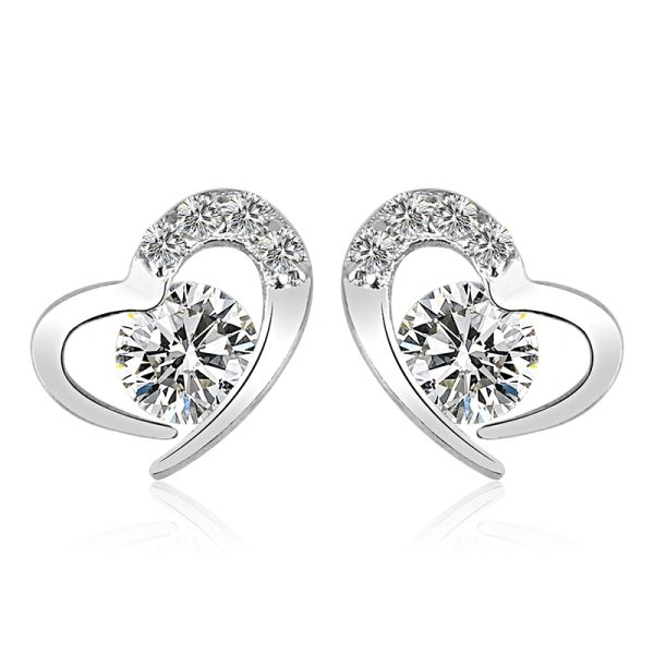 Zena 925 Sterling Silver Heart Stud Earrings Made With Crystals from Swarovski