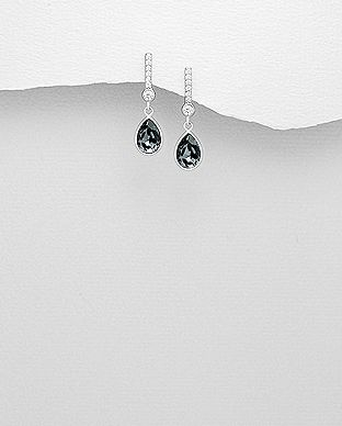 925 Sterling Silver Night Earrings Made With Verifiable Authentic Swarovski Crystals