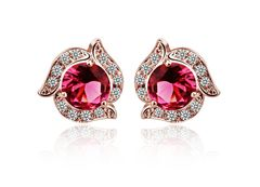 Ouxi Indian Pink Stud Earrings Made With Zircon Crystal
