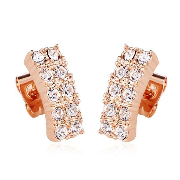 Ouxi 18k Gold Plated Zircon Stud Earrings