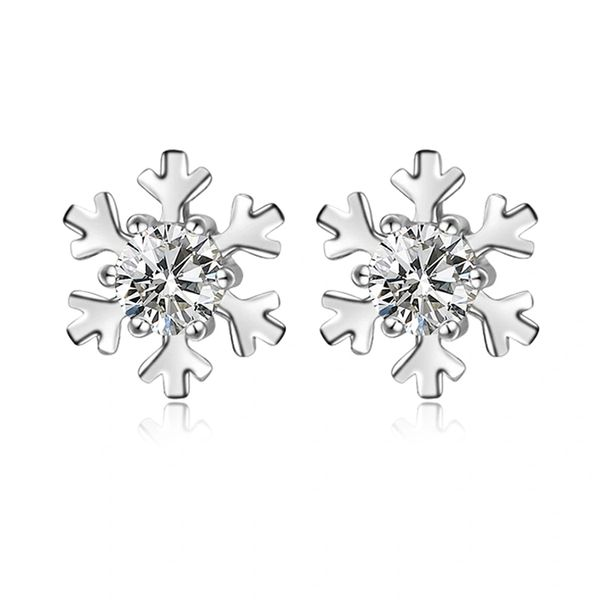 Zena 925 Sterling Silver Snowflake Stud Earrings Made With Crystals from Swarovski