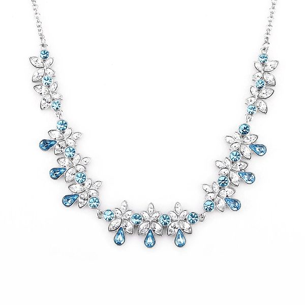 Zena Classic Blue Necklace Made With Crystals From Swarovski