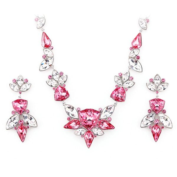 Zena Elegant Red Earrings & Necklace Set Made With Crystals From Swarovski