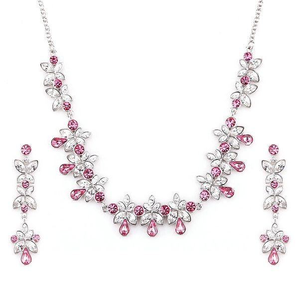 Zena Classic Pink Earrings & Necklace Set Made With Crystals From Swarovski