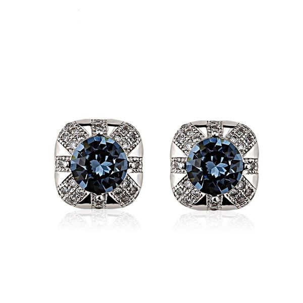 ZENA 925 Sterling Silver Blue Black Stud Earrings Made With Crystals From Swarovski