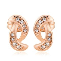Ouxi Rose Gold Stud Earrings Made With Crystals From Swaroski