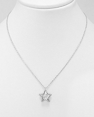 925 Sterling Silver Star Necklace Made With Verifiable Authentic Swarovski Crystals