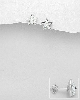 925 Sterling Silver Star Earrings Made With Verifiable Authentic Swarovski Crystals