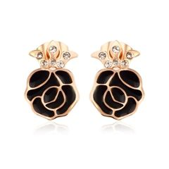 Ouxi Black & Gold Flower Earrings Made With Crystals From Swarovski
