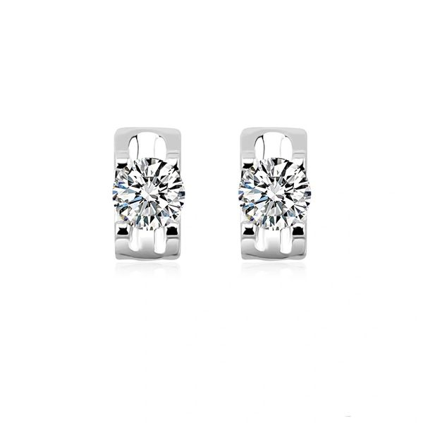 Zena 925 Sterling Silver Rectangle Stud Earrings Made With Crystals from Swarovski