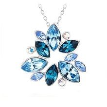 Ouxi Lotus Shaped Blue Pendant Necklace Made With Crystals From Swarovski