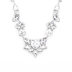 Zena Elegant Silver Necklace Made With Crystals From Swarovski