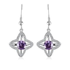 Zena 925 Sterling Silver Tanzanite Drop Earrings Made With Crystals From Swarovski
