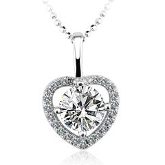 Zena 925 Sterling Silver Heart Necklace Made With Crystals from Swarovski