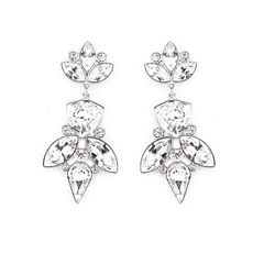 Zena Elegant Silver Earrings Made With Crystals From Swarovski