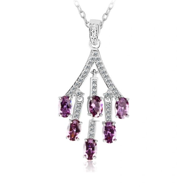 Zena 925 Sterling Silver Tanzanite Necklace Made With Crystals from Swarovski