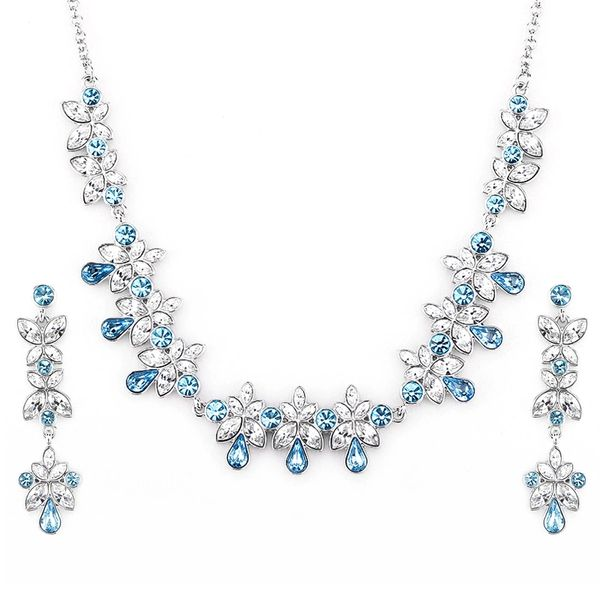 Zena Classic Blue Earrings & Necklace Set Made With Crystals From Swarovski
