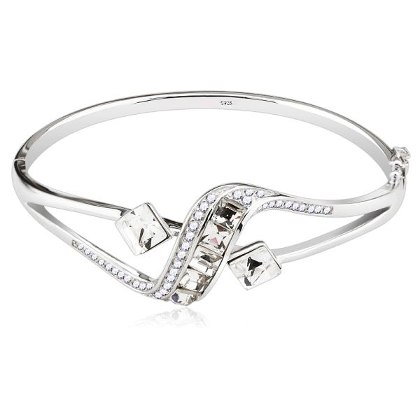 Zena 925 Silver Bangle Made With Crystals From Swarovski
