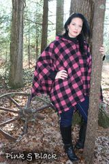 Womens Poncho Pink and Black