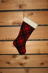 Wool Christmas Stocking Red and Black Plaid