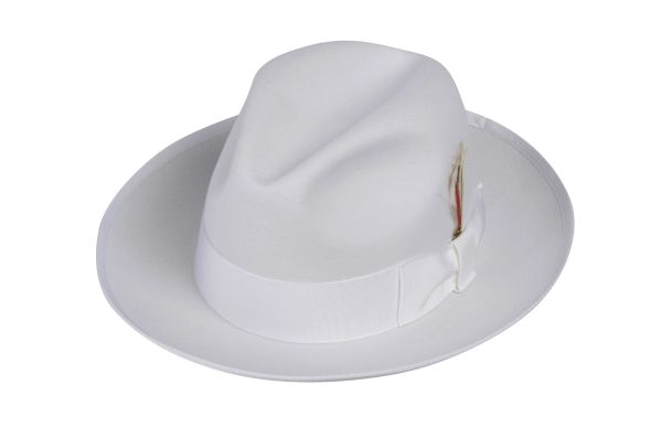 Deluxe Gangster Fedora Hat in White #NHT23D-70